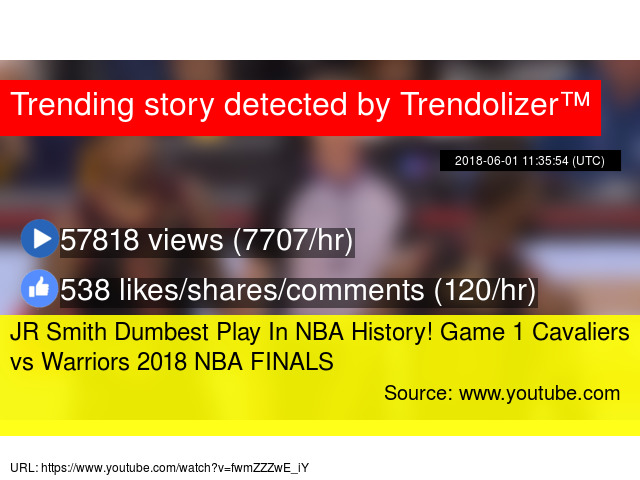 JR Smith Dumbest Play In NBA History! Game 1 Cavaliers vs Warriors 2018 NBA  FINALS c78bc9c00